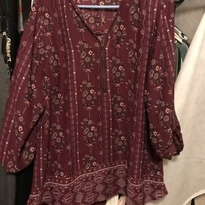 Plum colored blouse with zipper